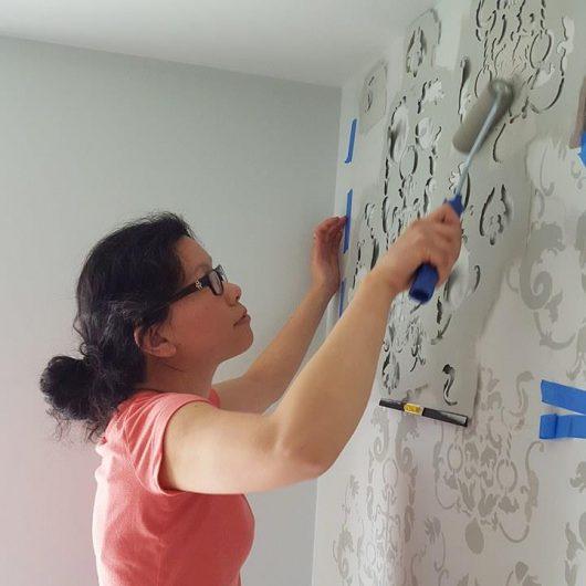 Learn how to stencil a DIY gray stenciled guest bathroom using the Oceana Damask Stencil from Cutting Edge Stencils. http://www.cuttingedgestencils.com/stencil-nautical-decor.html
