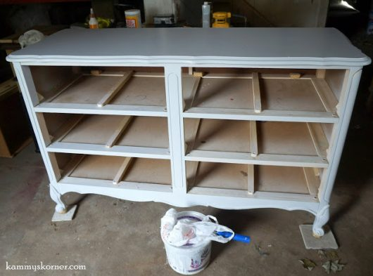 A painted french provincial dresser before its stenciled makeover. http://www.cuttingedgestencils.com/rabat-furniture-fabric-stencil.html
