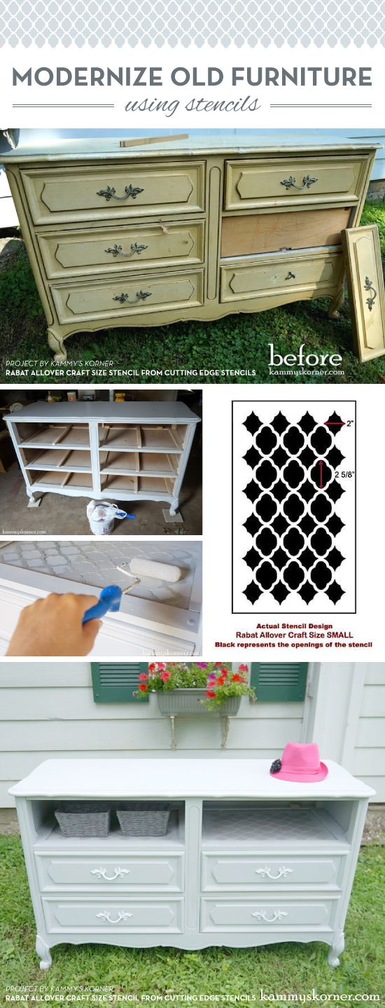 Cutting Edge Stencils shares a DIY stenciled dresser makeover using the Rabat Furniture Stencil pattern. http://www.cuttingedgestencils.com/rabat-furniture-fabric-stencil.html