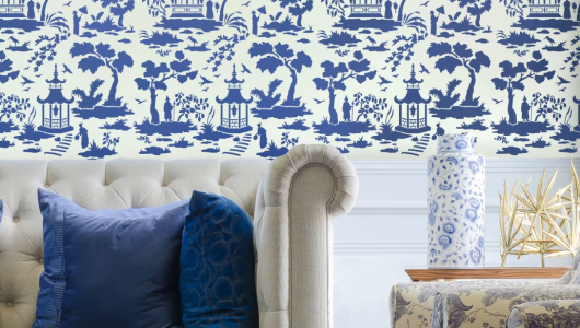 Learn how to stencil an accent wall using a Secret Garden Toile Stencil, a popular Chinoiserie wallpaper stencil pattern, from Cutting Edge Stencils. http://www.cuttingedgestencils.com/garden-toile-stencil-chinoiserie-wallpaper.html