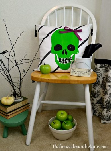 A DIY Halloween stenciled accent pillow using the Skull #3 Accent Pillow Stencil Kit from Cutting Edge Stencils. http://www.cuttingedgestencils.com/skull-throw-pillows-halloween-diy-home-decor.html