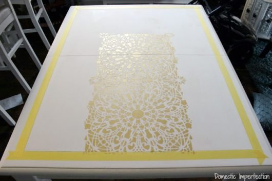 Learn how to stencil a DIY table top using the Stephanie's Lace Allover Stencil from Cutting Edge Stencils. http://www.cuttingedgestencils.com/lace-stencil-wall-decor-stencils.html