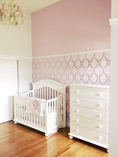 A DIY pink and metallic silver stenciled nursery using the Sweet Dreams Allover Stencil pattern from Cutting Edge Stencils. http://www.cuttingedgestencils.com/stencil-dreams-nursery-stencil-design.html
