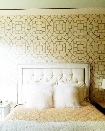 A DIY stenciled bedroom accent wall using the Tea House Trellis Allover Stencil, an oversized geometric wall pattern, from Cuttin gEdge Stencils. http://www.cuttingedgestencils.com/tea-house-trellis-allover-stencil-pattern.html