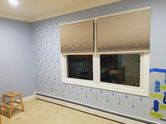 Learn how to stencil an accent wall in a boys bedroom using the Tribal Arrows Allover Stencil from Cutting Edge Stencils. http://www.cuttingedgestencils.com/tribal-arrow-pattern-stencils-wall-decor.html