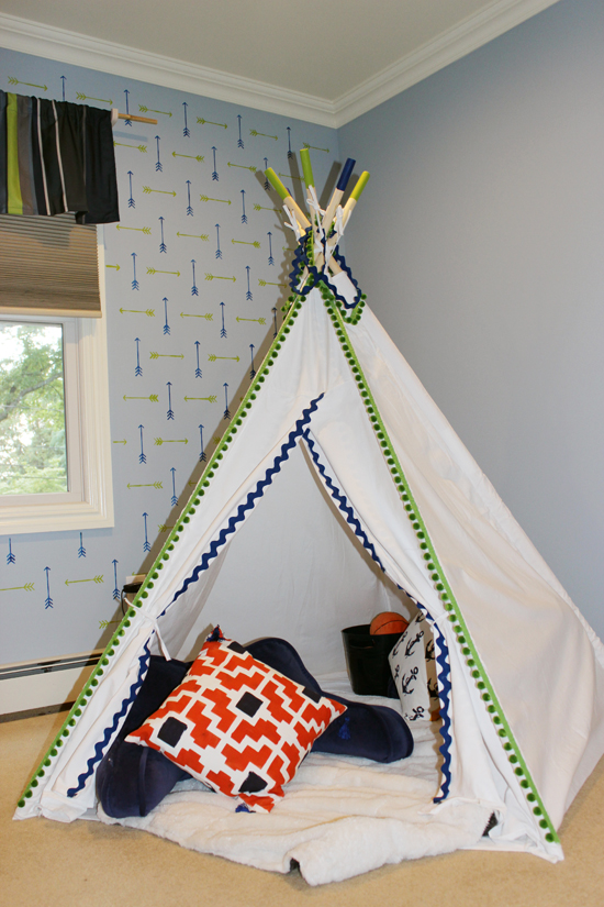 A white canvas teepee in a tribal stenciled boys bedroom using the Tribal Arrows Allover, a popular arrow motif wall pattern, from Cutting Edge Stencils. http://www.cuttingedgestencils.com/tribal-arrow-pattern-stencils-wall-decor.html