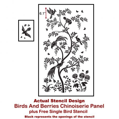 The Birds and Berries Chinoiserie Wall Mural Stencil from Cutting Edge Stencils achieves a wallpaper look. http://www.cuttingedgestencils.com/chinoiserie-stencil-mural-wall-design-wallpaper.html