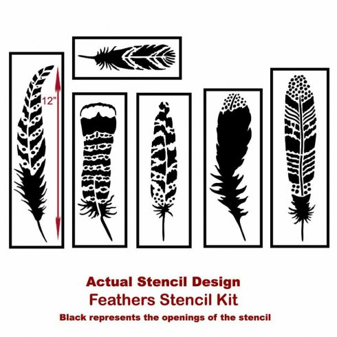 The Feathers 6 piece Stencil Kit from Cutting Edge Stencils. http://www.cuttingedgestencils.com/feathers-stencil-design-boho-tribal-indian-feather-stencils.html