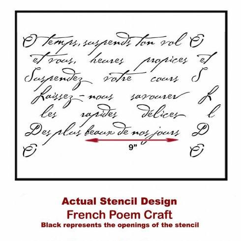 The French Poem Craft Stencil from Cutting Edge Stencils. http://www.cuttingedgestencils.com/french-poem-diy-craft-stencil-design.html