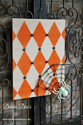A DIY stenciled Halloween decoration using the Harlequin Stencil from Cutting Edge Stencils. http://www.cuttingedgestencils.com/harlequin-stencil-for-pillow-kit.html
