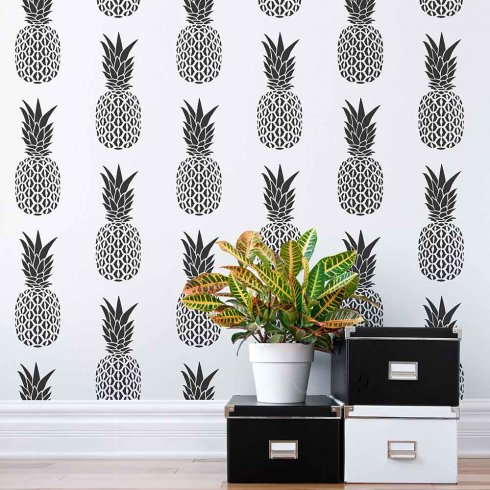 Cutting Edge Stencils shares how to stencil an accent wall using a Pineapple Allover Stencil, a popular tropical wallpaper stencil pattern. http://www.cuttingedgestencils.com/pineapple-fruit-allover-stencil-pattern-design.html