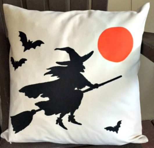 A DIY stenciled Halloween accent pillow using the Witch Accent Pillow Kit from Cutting Edge Stencils. http://www.cuttingedgestencils.com/witch-design-halloween-stencils-diy-home-decor-accent-pillows.html