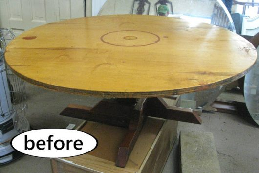A wooden table before its stenciled makeover using a mandala stencil. http://www.cuttingedgestencils.com/prosperity-mandala-stencil-yoga-mandala-stencils-designs.html