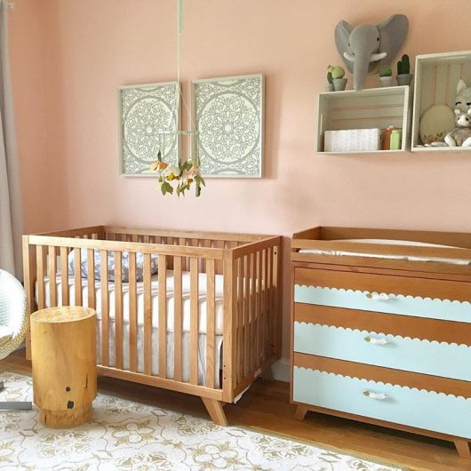 A beautiful pink and gold nursery with stenciled wall art using the Charlotte Allover Stencil on canvas from Cutting Edge Stencils. http://www.cuttingedgestencils.com/charlotte-allover-stencil-pattern.html