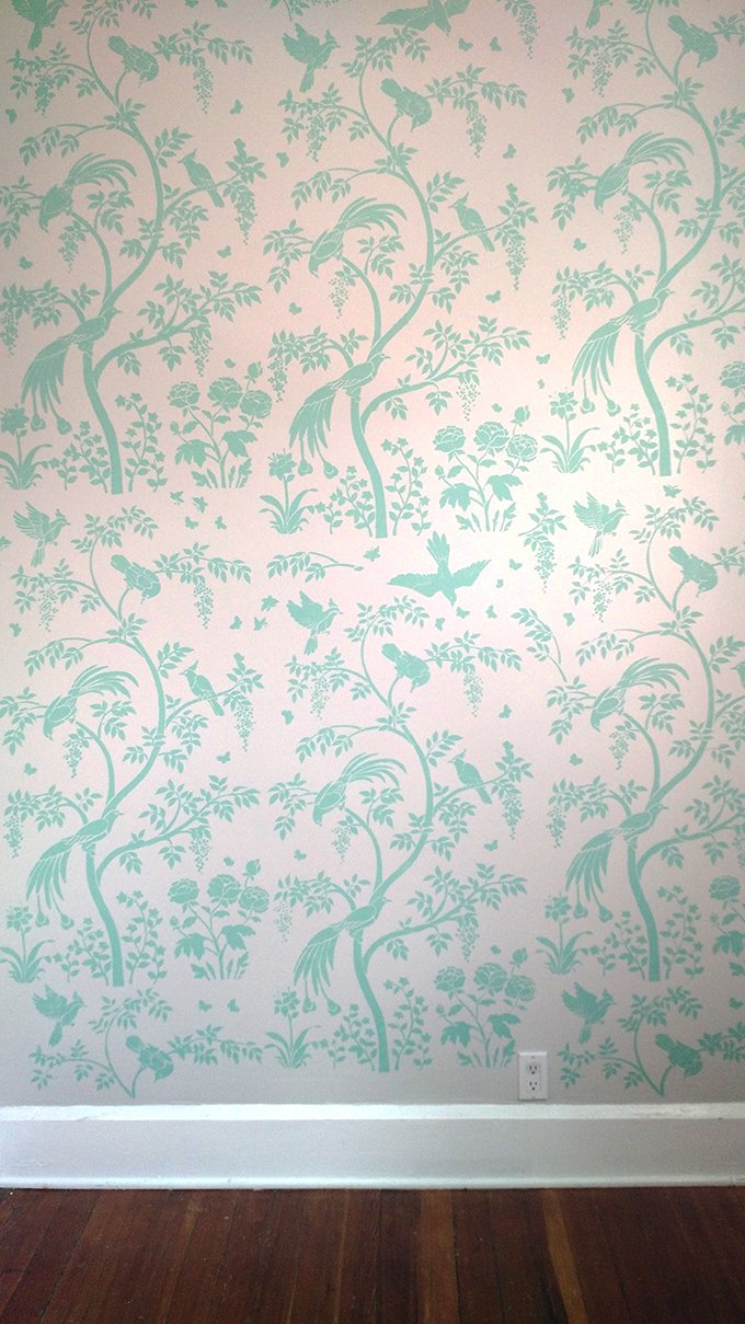 Wall Mural Stencils stenciling a chinoiserie wallpaper accent wall « stencil stories