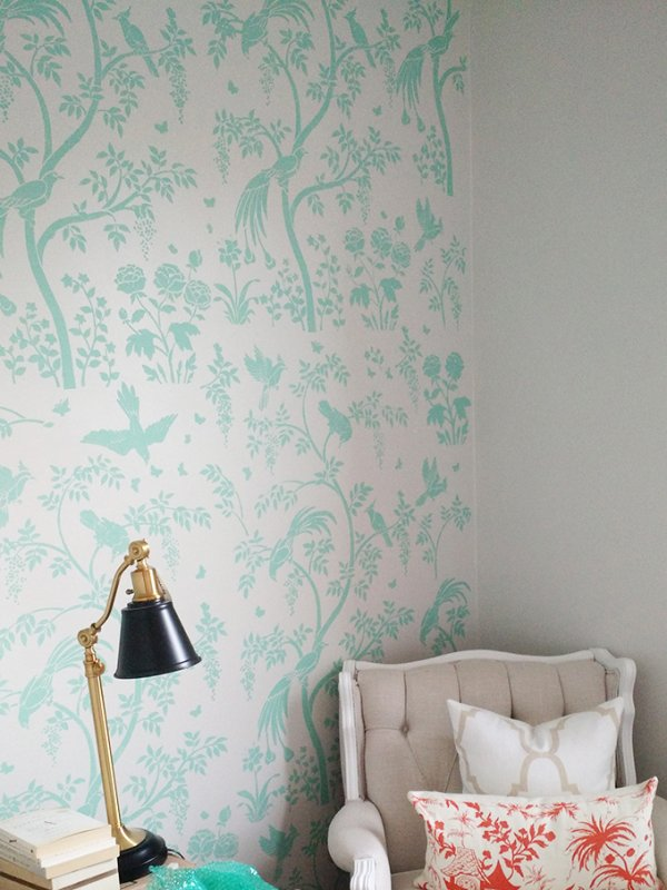 An accent wall using the Chinoiserie Birds and Berries Wall Mural Panel from Cutting Edge Stencils for a wallpaper look, painted in Benjamin Moore's Key Largo Green. http://www.cuttingedgestencils.com/chinoiserie-stencil-mural-wall-design-wallpaper.html