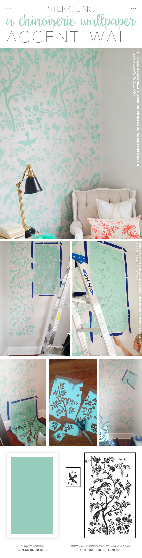 Stenciling a chinoiserie wallpaper accent wall stencil stories cutting edge stencils shares how to stencil the chinoiserie birds and berries wall mural panel for amipublicfo Image collections