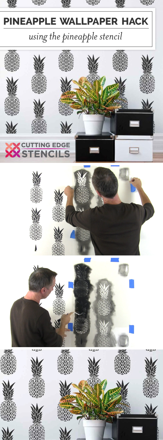 Cutting Edge Stencils shares a tutorial for how to stencil a wallpaper look using the Pineapple Allover Stencil. http://www.cuttingedgestencils.com/pineapple-fruit-allover-stencil-pattern-design.html