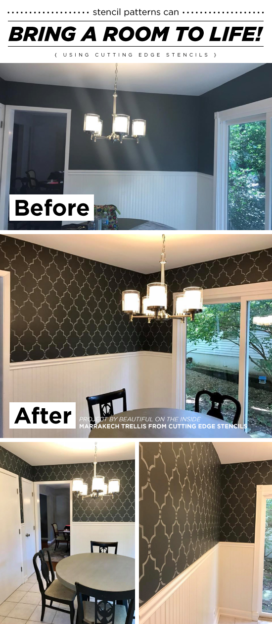 Cutting Edge Stencils shares a dining room pick me up using the Marrakech Trellis Stencil from Cutting Edge Stencils to achieve a wallpaper look. http://www.cuttingedgestencils.com/moroccan-stencil-marrakech.html