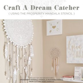 Learn how to stencil a dream catcher craft using the Prosperity Mandala Stencil from Cutting Edge Stencils. http://www.cuttingedgestencils.com/prosperity-mandala-stencil-yoga-mandala-stencils-designs.html