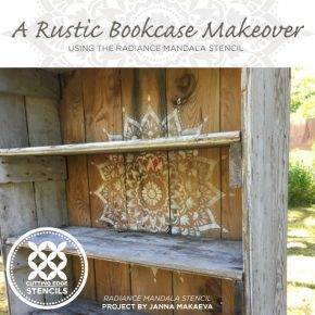 A Rustic Bookcase Makeover Using the Radiance Mandala Stencil