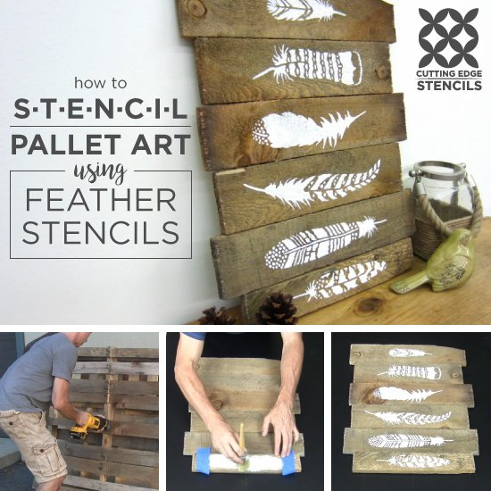 How To Stencil Pallet Art Using Feather Stencils