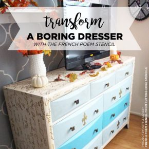 Learn how to stencil a dresser using the French Poem Craft Stencil from Cutting Edge Stencils. http://www.cuttingedgestencils.com/french-poem-diy-craft-stencil-design.html