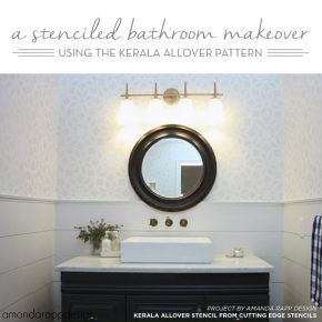 Cutting Edge Stencils shares a gray and white stenciled bathroom using the Kerala Allover Stencil from Cutting Edge Stencils. http://www.cuttingedgestencils.com/kerala-indian-stencil-geometric-pattern-stencils.html