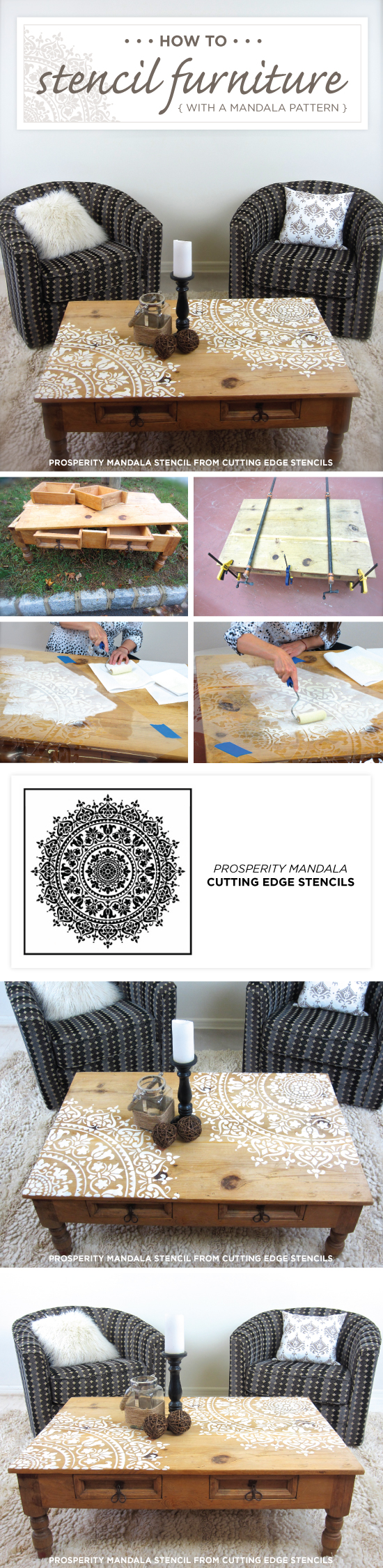 cutting edge furniture. Cutting Edge Stencils Shares How To Stencil A Wood Table Using The Prosperity Mandala Pattern Furniture