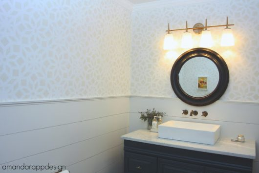 A gray and white DIY stenciled bathroom using the Kerala Allover wall pattern from Cutting Edge Stencils for a wallpaper look. http://www.cuttingedgestencils.com/kerala-indian-stencil-geometric-pattern-stencils.html