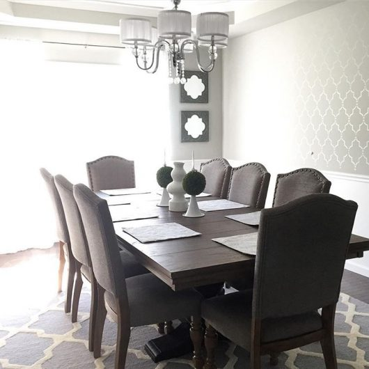 A DIY stenciled accent wall in a dining room using the Marrakech Trellis Allover Stencil from Cutting Edge Stencils. http://www.cuttingedgestencils.com/moroccan-stencil-marrakech.html