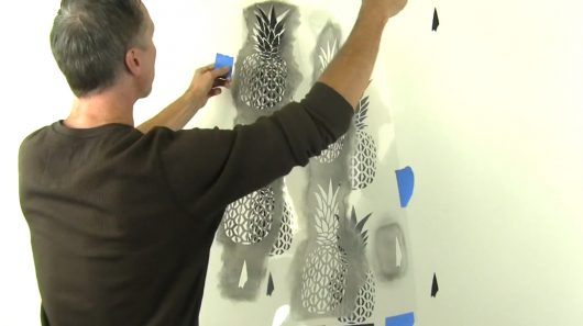 Learn how to stencil an accent wall using a Pineapple Allover Stencil, a popular tropical wallpaper stencil pattern, from Cutting Edge Stencils. http://www.cuttingedgestencils.com/pineapple-fruit-allover-stencil-pattern-design.html