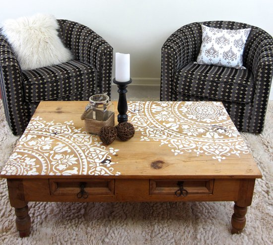 How to stencil furniture with a mandala pattern stencil - Stencil patterns for furniture ...