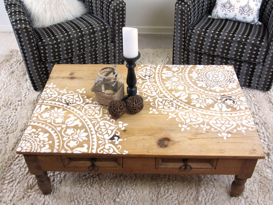 How To Stencil Furniture With A Mandala Pattern Stencil  : prosperity mandala stencil diy furniture wood stenciled tutorial 7 from www.cuttingedgestencils.com size 550 x 413 jpeg 301kB