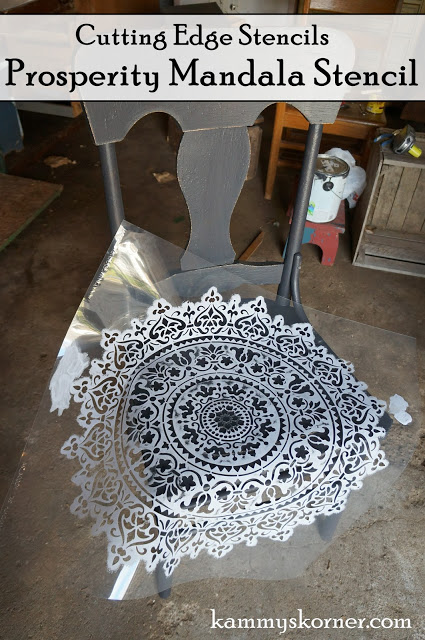 Learn how to stencil a wooden chair using the Prosperity Mandala Stencil from Cutting Edge Stencils. http://www.cuttingedgestencils.com/prosperity-mandala-stencil-yoga-mandala-stencils-designs.html