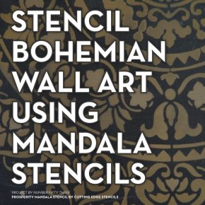 Learn how to stencil DIY boho chic wall art using the Prosperity Mandala Stencil from Cutting Edge Stencils. http://www.cuttingedgestencils.com/prosperity-mandala-stencil-yoga-mandala-stencils-designs.html