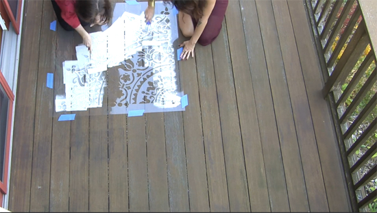 Learn how to stencil a deck with the Prosperity Mandala Stencil pattern from Cutting Edge Stencils. http://www.cuttingedgestencils.com/prosperity-mandala-stencil-yoga-mandala-stencils-designs.html
