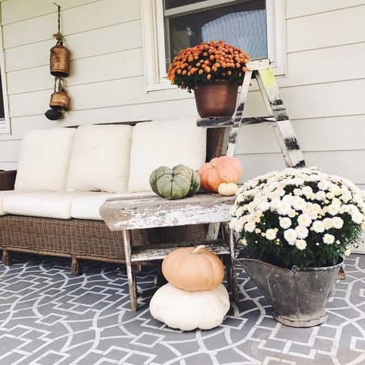 A stenciled cement porch using the Tea House Trellis Stencil, an oversized geometric pattern, from Cutting Edge Stencils. http://www.cuttingedgestencils.com/tea-house-trellis-allover-stencil-pattern.html