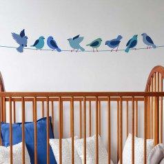 The Birds on a Wire Border Stencil from Cutting Edge Stencils. http://www.cuttingedgestencils.com/birds-on-a-wire-stencil-bird-design.html