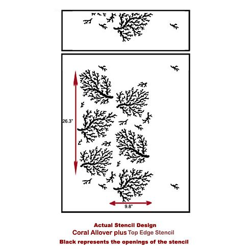 The Coral Allover Stencil from Cutting Edge Stencils. http://www.cuttingedgestencils.com/coral-stencil-pattern-beach-decor.html