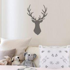 A Deer Head Wall Art Stencil, a deer antler wall design, from Cutting Edge Stencils. http://www.cuttingedgestencils.com/deer-head-wall-stencil-deer-antlers-stencils-for-walls.html