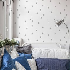 The Little Raindrops Allover Stencil, is a minimalistic woodland inspired wall pattern, from Cutting Edge Stencils. http://www.cuttingedgestencils.com/raindrops-stencil-pattern-nursery-wall-design.html