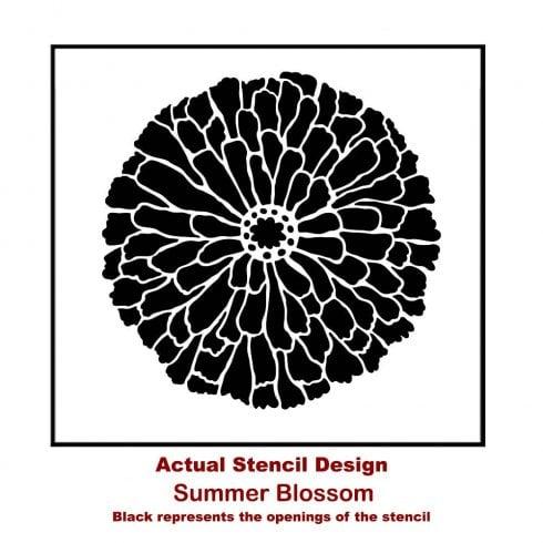 The Summer Blossom Wall Art Stencil, a pretty flower furniture pattern, from Cutting Edge Stencils. flower stencil