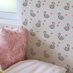 The Sweet Swans Allover Stencil, is an adorable nature inspired wall pattern, from Cutting Edge Stencils. http://www.cuttingedgestencils.com/swan-stencil-girls-nursery-swan-wall-design-wall-pattern.html