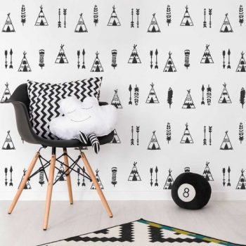 The Indian Tipi Allover Stencil, a tribal wall pattern, from Cutting Edge Stencils. http://www.cuttingedgestencils.com/indian-tipi-stencil-teepee-wall-stencil-tepee-design-woodland-nursery.html