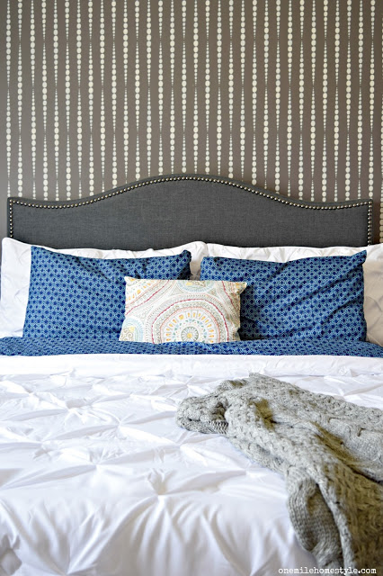 A DIY stenciled master bedroom makeover using the Beads Allover Stencil from Cutting Edge Stencils. http://www.cuttingedgestencils.com/beads-wall-stencil-pattern.html
