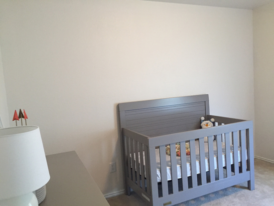 A bland nursery before its stenciled makeover. http://www.cuttingedgestencils.com/drifting-arrows-stencil-pattern-diy-decor.html