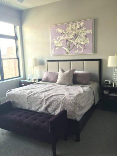 A master bedroom before its stenciled makeover. http://www.cuttingedgestencils.com/trellis-allover-stencil.html