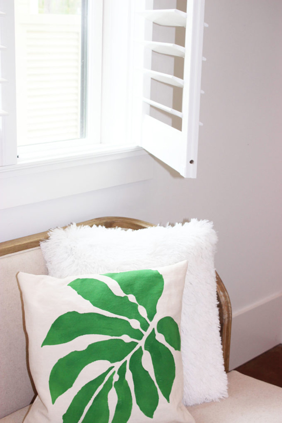 DIY botanical stenciled accent pillows painted using the Accent Pillow Stencil Kits from Cutting Edge Stencils. http://www.cuttingedgestencils.com/bermuda-breeze-stencils-paint-a-pillow-kit.html