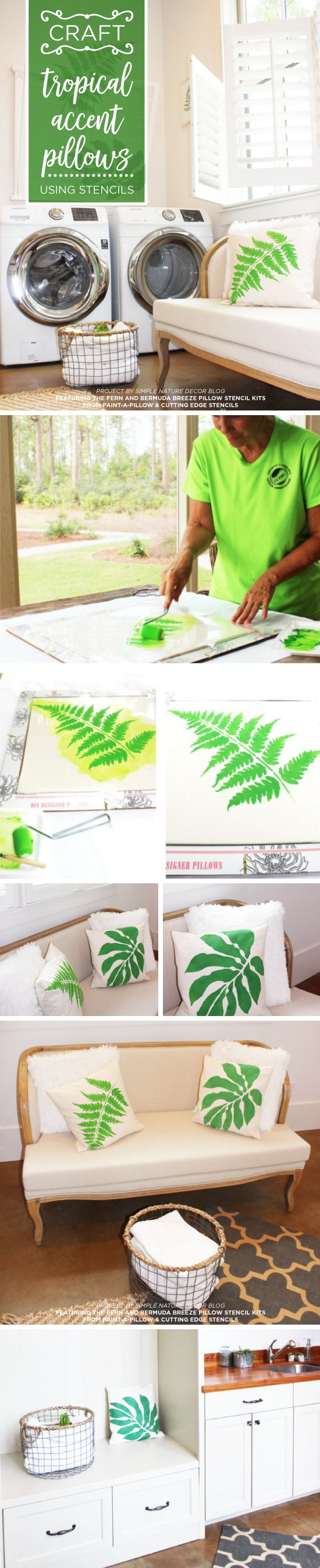 Cutting Edge Stencils shares DIY botanical stenciled accent pillows painted using the Accent Pillow Stencil Kits.  http://www.cuttingedgestencils.com/accent-pillow-stencil-kits.html